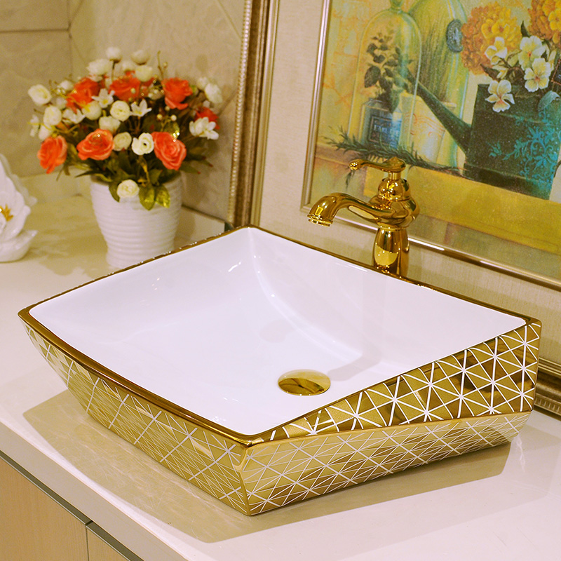 Golden Artistic Porcelain Countertop And Semi Counter Sink Washbasin  Ceramic Bathroom Sink Gold Mosaic Bathroom( Part 29