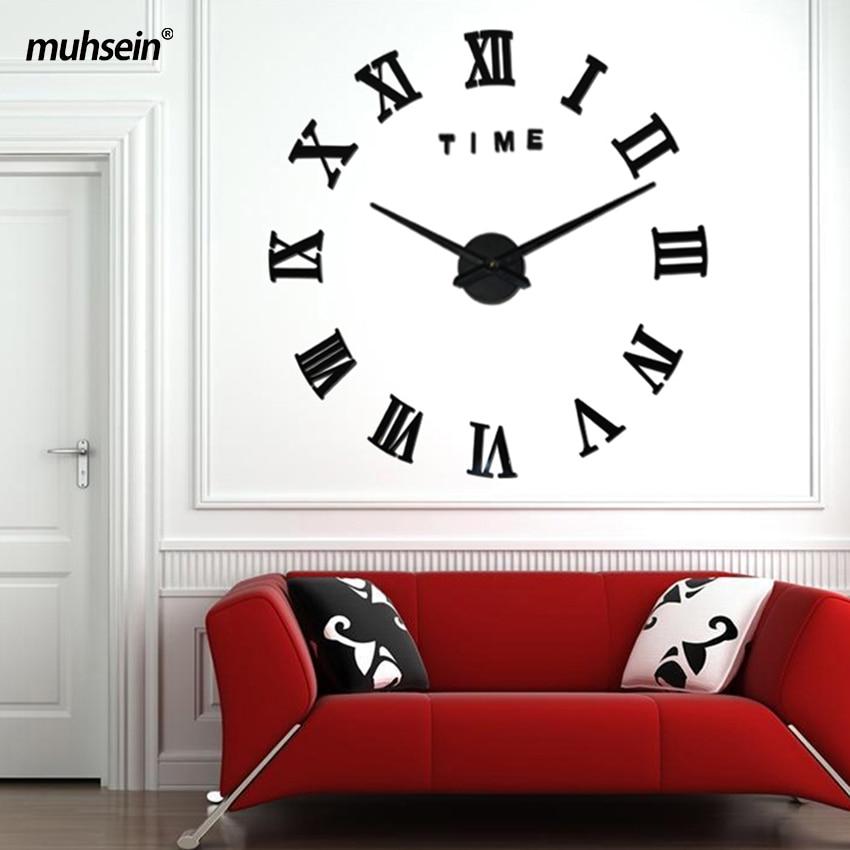 2019 Nový domov dekorace nástěnné hodiny velké zrcadlo nástěnné hodiny moderní design velké nástěnné hodiny DIY samolepka hodiny jedinečný dárek