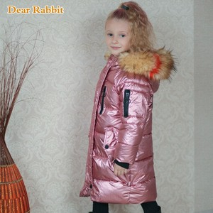 Image 2 -  30 Children Winter jacket Clothes Girl Warm waterproof Coat Hooded long down cotton Coats For Kids Outerwear parka clothing
