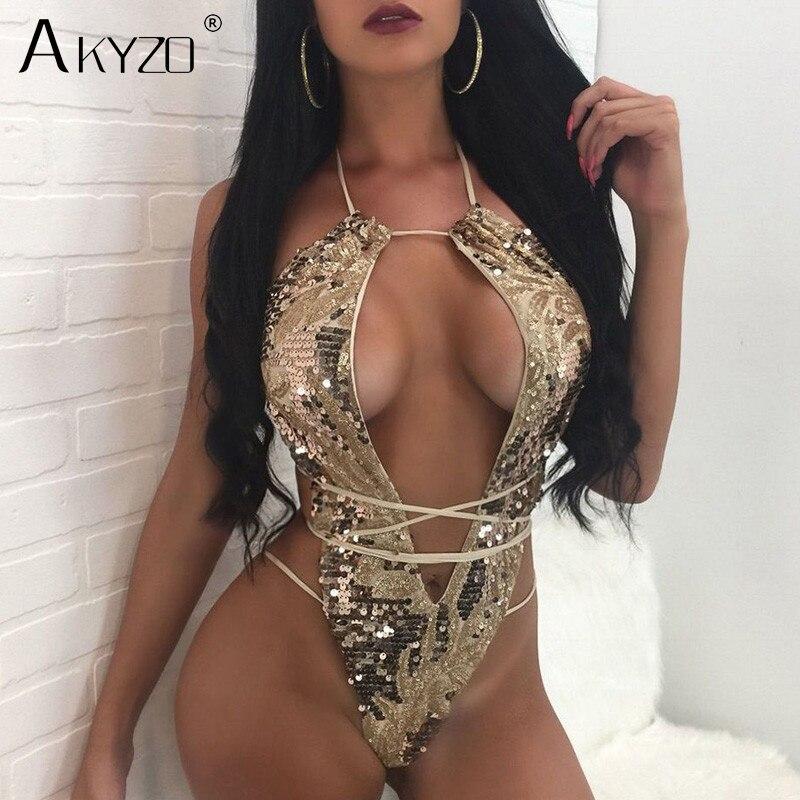 AKYZO 2018 new arrival Magic Sequins Brazilian Bandage Bodysuits Women sexy deep v Backless Bathing Suit shiny Beach Rompers