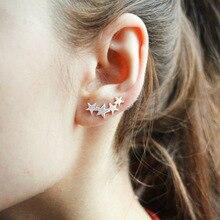 925 silver ear hook Star simple women stud earrings 4 stars Office jewelry