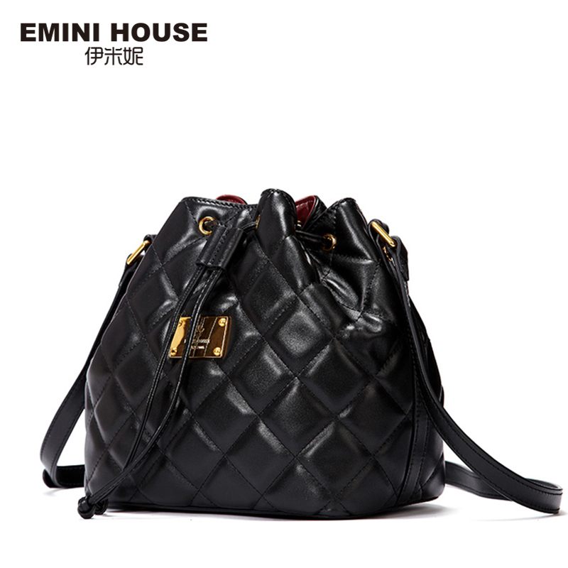 EMINI HOUSE Fashion Diamond Lattice Bucket Bag Genuine Leather Shoulder Bags Women Bag High Quality Women Messenger Bags серьги fashion house даниэлла цвет серебряный белый
