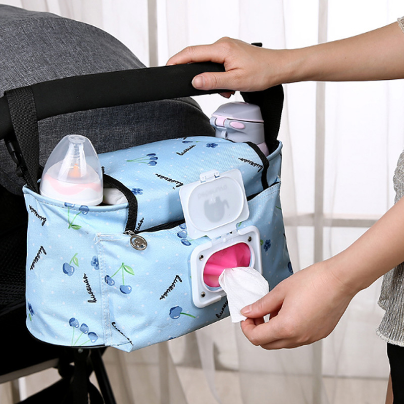 Hot Waterproof Large Capacity Baby Stroller Accessories Diaper Nappy Bag Cartoon Color Folding Elephant Stroller Organizer Bag