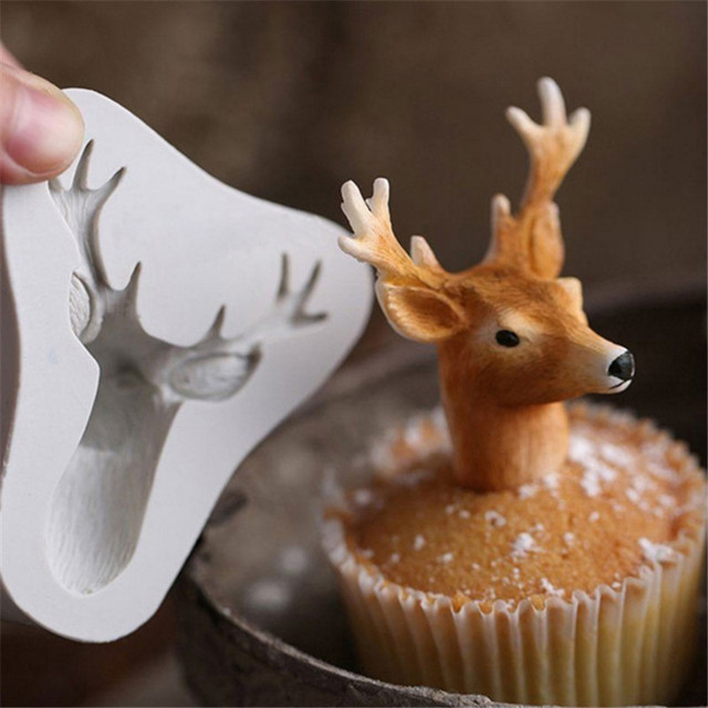 Christmas Deer Fondant Cake Silicone Moulds Chocolate Kitchen Accessories  3D Stagu0027s Head Mold Soap Cupcake Baking