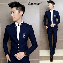 2016 New 2PCS/Set Slim Fit Prom Stage Costume Homme Suits Classic Chinese Collar Party Boys Men Club Jacket with Pants