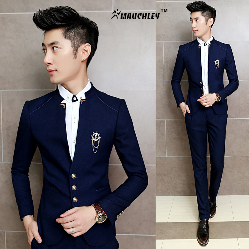 MAUCHLEY 2PCS/Set Slim Fit Prom Homme Men Costume Wedding Suits Classic Chinese Collar Party Dress Suits Boys Jacket with Pants