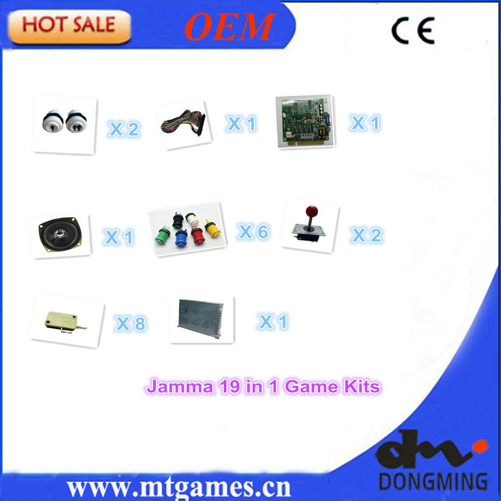 Jamma Arcade game kits with jamma 19 in 1 PCB,Power Supply,arcade joystick,arcade button, microswitch,jamma cable wire,speaker led lights mini arcade bundle machines 645 in 1 joystick game consoles with jamma multi games pandora 4 game pcb board