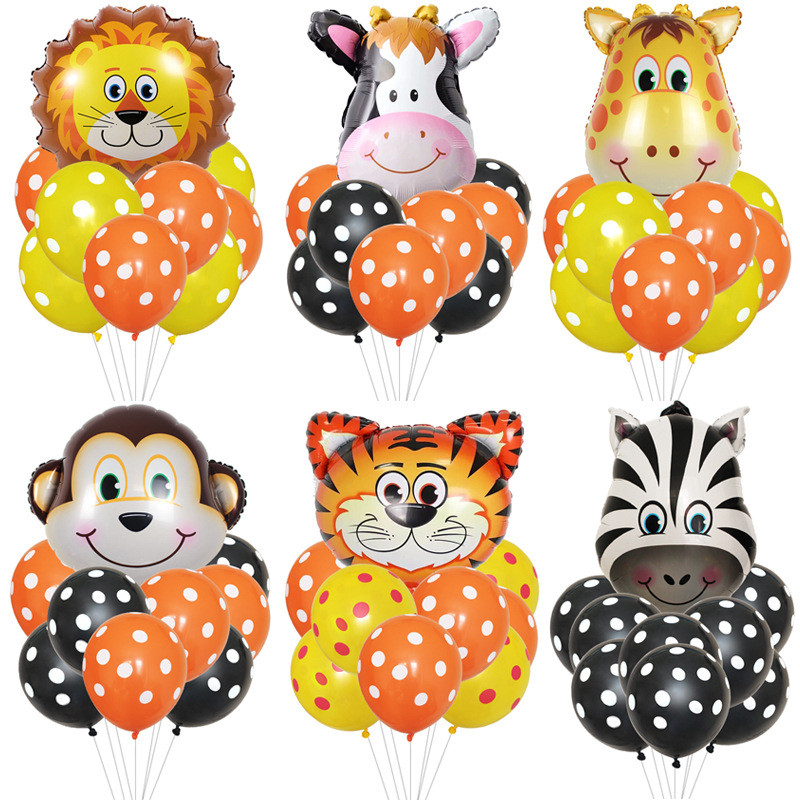 Cartoon Hat Jungle Animal Tiger Lion Monkey Zebra Giraffe Cow Air Helium Balloon Kids Safari Birthday Party Decor Hat
