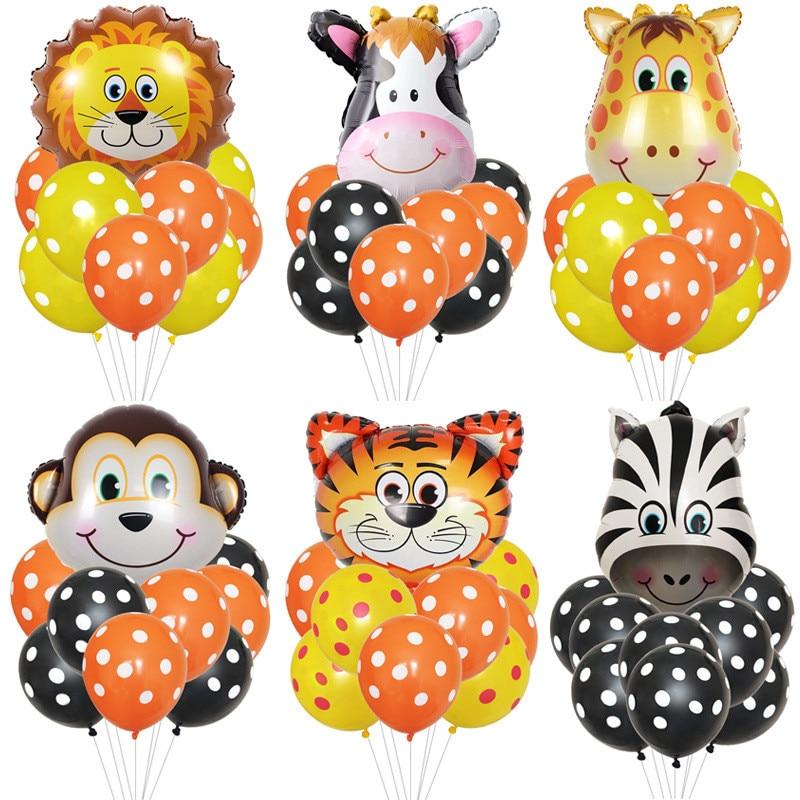 Cartoon Hat Jungle Animal Tiger Lion Monkey Zebra Giraffe Cow Air Helium Balloon Kids Safari Birthday Party Decor Hat