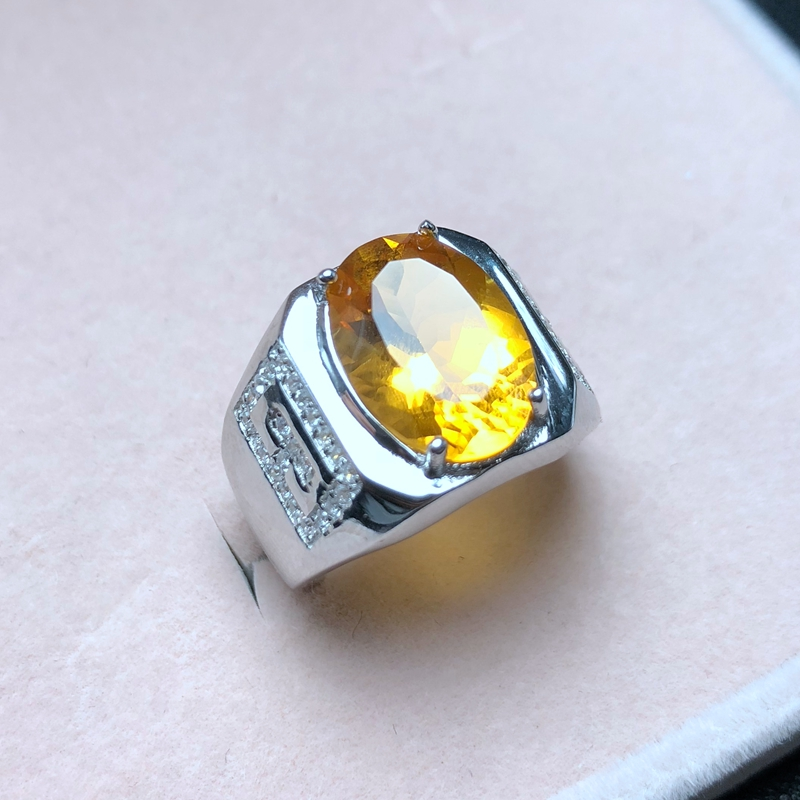In-kind Photo Beautiful Color, New Men's Ring, 925 Silver, Brazilian Natural Citrine, Classic Atmosphere