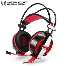 EACH GS700 red Stereo Bass Gaming Headset Headband Noise Cancellation Headphone with Mic LED Light for PC Computer Mobile Phones