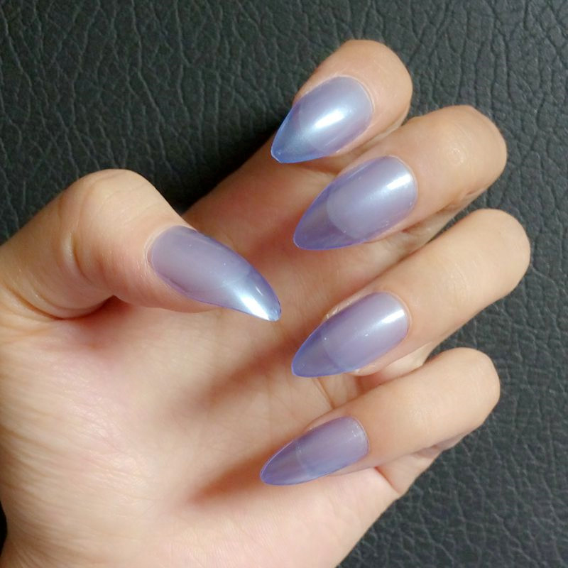 Candy Fake Nail Tips Clear Transparent Blue Stiletto False