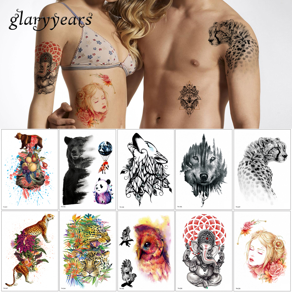 Glaryyears 24 Designs 1 Sheet Temporary Body Animal Tattoo Waterproof TH Sticker Wolf Tiger Decal For Women Men Body Tattoo 2019