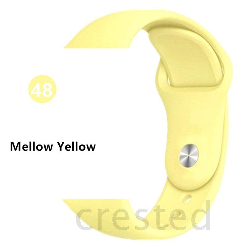 Силиконовый ремешок для apple watch 4 5 44 мм/40 мм спортивный ремешки для apple watch 3 42 мм/38 мм резиновый ремень браслет ремешок для часов apple watch Band Мягкий красочный ремешок iwatch series 4 3 2 1 - Цвет ремешка: Mellow Yellow