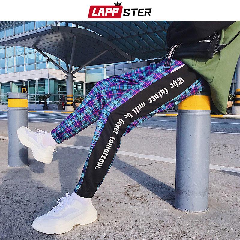 LAPPSTER Men Streetwear Plaid Pants Joggers 2020 Mens Patchwork Blue Sweatpants Ankel-length Cotton Hip Hop Track Pants Trousers