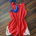Plus Size Rompers Womens Jumpsuit 2016 Summer Sleeveless Casual O-Neck Elastic Waist Hollow Out Lace Crochet Short Playsuit