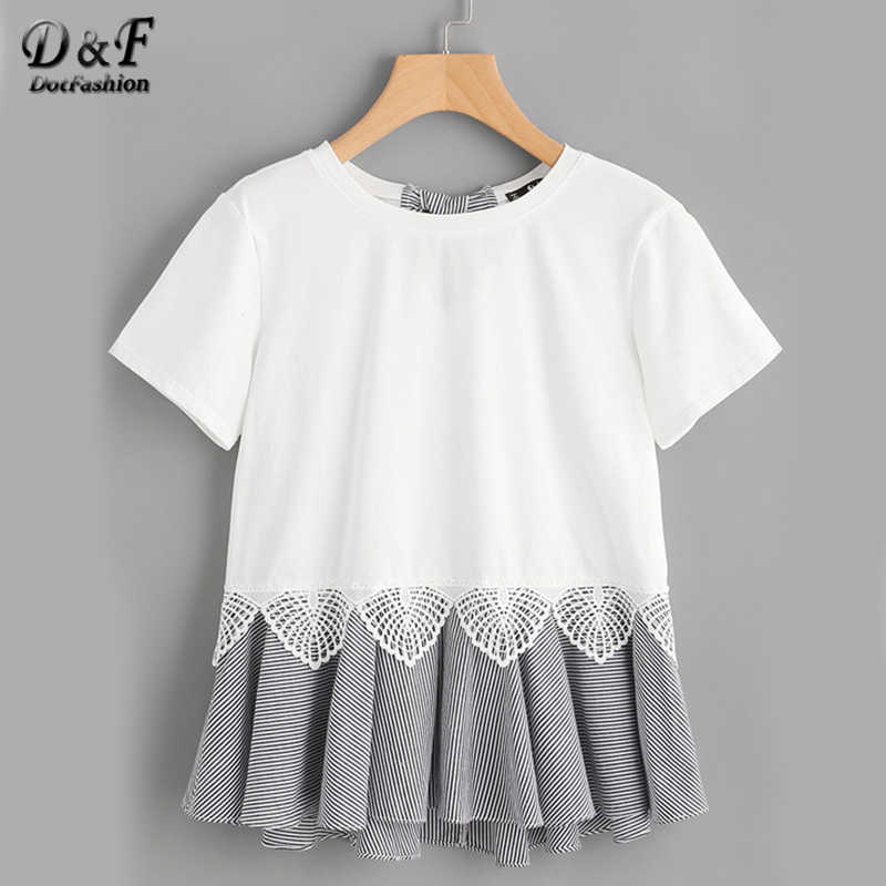 Dotfashion Striped Bow And Ruffle Hem Mixed Media Tee 2019 White Lace Cotton Top Summer Short Sleeve Round Neck T-shirt