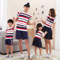 2017 Family Matching Clothes Cotton Family Set Striped Mother Daughter Dress Father Son Clothes Family Clothing Sets YH10