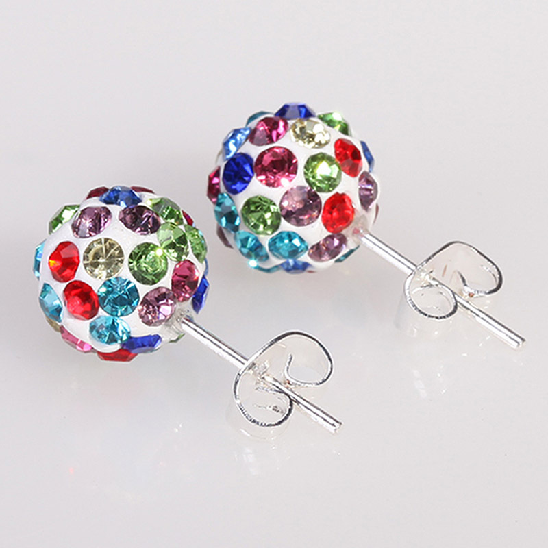 2015 New Fashion Jewelry 10 Color 8MM Shamballa Earrings Micro Disco Ball Shamballa Crystal Stud Earring For Women E1648-E1657