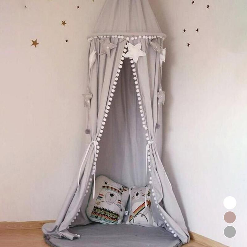 Baby room decoration Balls Mosquito Net Kids bed cotton curtain canopy Round Crib Netting tent photography props baldachin 245cm double door type crib yurt netting larger space baby bed canopy travel kids camping mesh tent folding easily baby mosquito net