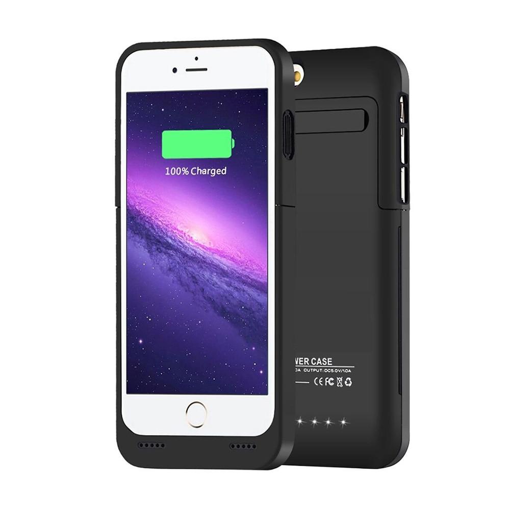 imágenes para Caso Portable de la Energía Externa Para el iphone 6 6 s Cubierta de la Caja Del Cargador de Batería Recargable con LED y Soporte 3500 mah negro