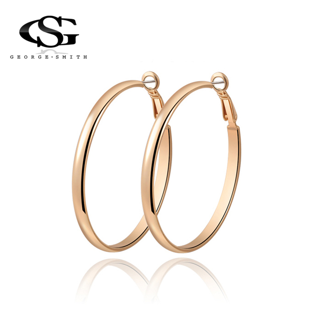 Gs Gold Color Circle Creole Earrings Stainless Steel Round Wives Hoop Gifts For