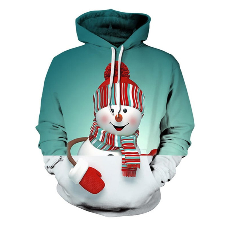 Adult Christmas 3D Digital Print Sweater Big Snowman Cosplay Costumes Men and Women Couples Sports Hoodie Christmas Costumes