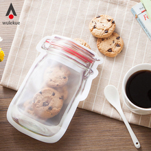 Wulekue ZipLock Bags Transparent Mason Cup Shape Zipper Travel Storage Bag For Food Snack Kitchen Organizer