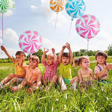18 inch aluminum film lollipop balloon circle candy balloon birthday decoration mosquito coil windmill air ball(China)
