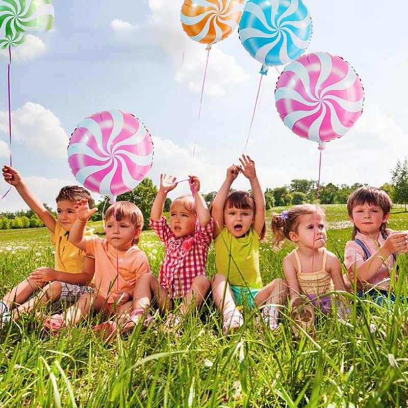18 นิ้วอลูมิเนียมฟิล์ม lollipop บอลลูนวงกลม candy บอลลูนวันเกิดตกแต่งกันยุง windmill air ball