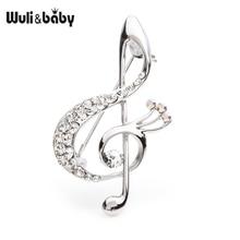 Wuli&baby Czech Rhinestone Music Note Brooches Women Men Alloy Eye Weddings Party Brooch Pins