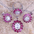 Graceful Red Created Ruby White Topaz Silver Jewelry Sets Earrings Pendant Ring Size 6 / 7 / 8 / 9 / 10  S0431