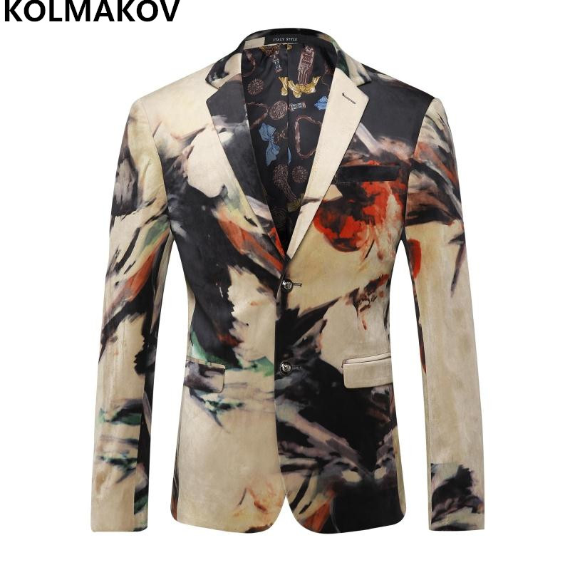 2018 New Arrival Autumn Printed Mens Fashion Blazer Coats Mens Luxury Bar party stage Blazers mens clothing full size M-3XL ...