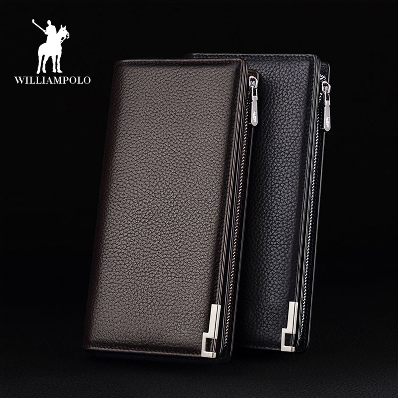 WILLIAMPOLO 2019 wallet men leather long zipper Male Clutch Business Wallet Coin  Phone Wallet Luxury Wallet Black PL129