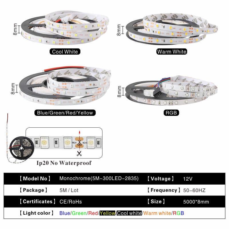 5 м 300 светодиодов не водонепроницаемый RGB светодиодный светильник 2835 12 В постоянного тока 60 светодиодов/м Гибкий Светильник ing String лента лампа украшение дома лампа