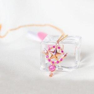 Ожерелье в стиле аниме «Сакура», Женское Ожерелье для косплея, кулоны, карточка из серебра 925 пробы, украшения в подарок для девочек и детей