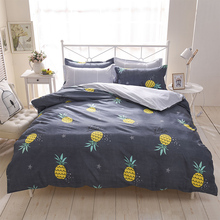 Dark Gray and light gray 4PCS bed set in a bag yellow pineapple cartoon quilt cover fashion modern bedding kids bedroom use