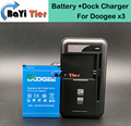 100% New Doogee x3 Battery + Desktop Dock Wall Charger 1800mAh Lithium-ion Battery for Doogee x3 Smartphone +in stock