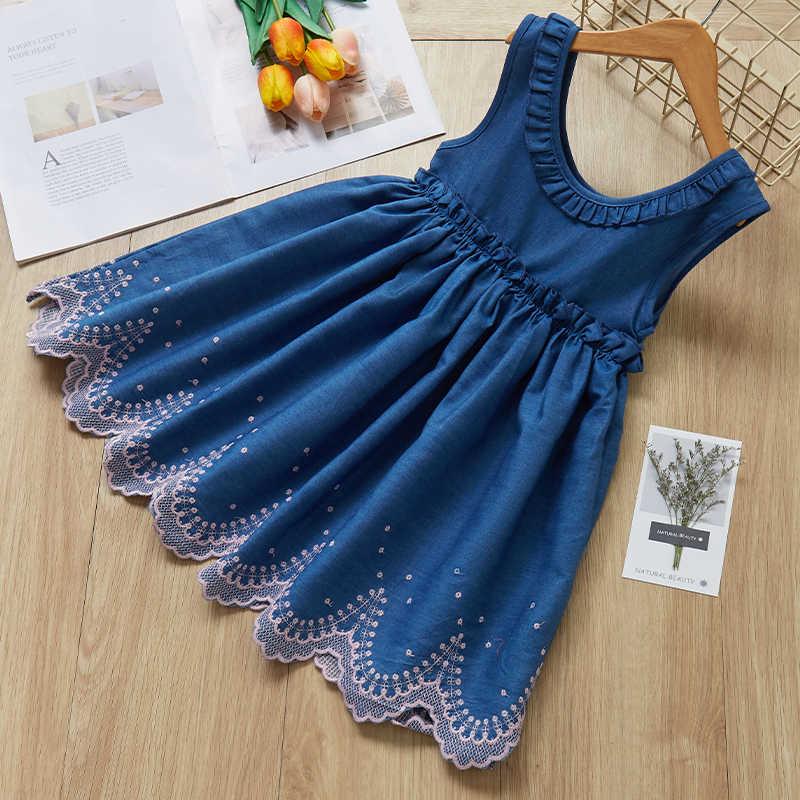 c848ed553ecf1 Girls Denim Dress 2019 New Backless Dress European and American Style Kids  Dress Children Clothing 3-7Y Girls Clothes Dress