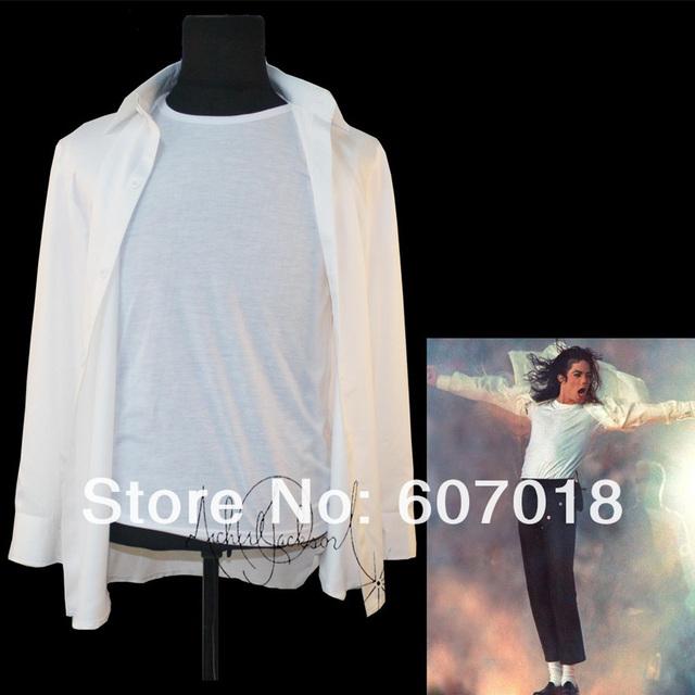 MJ Michael Jackson Camisa Blanca 1993's para el desempeño en todo el tamaño