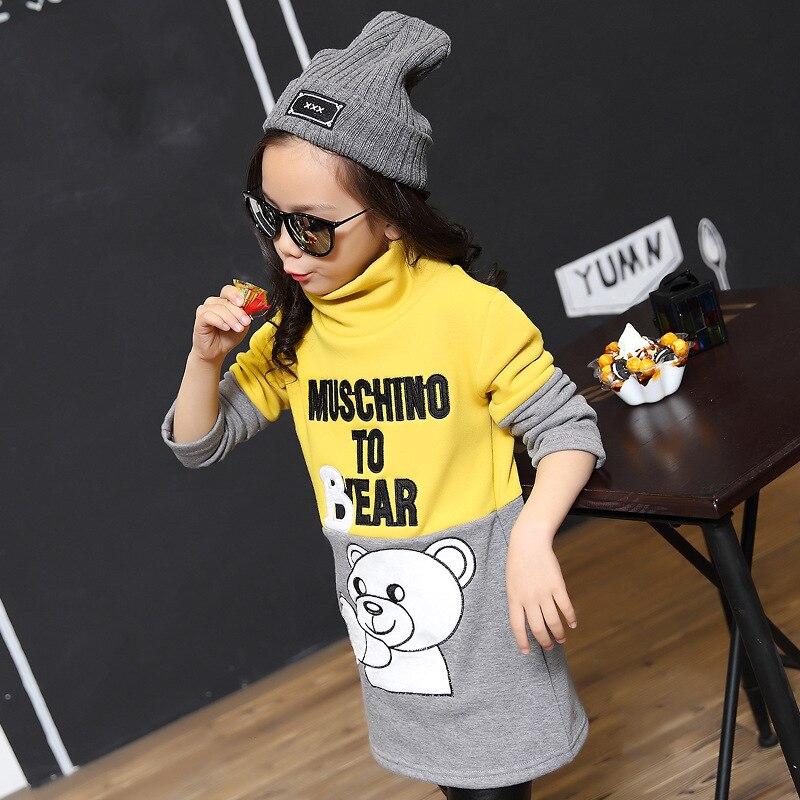 Shirt Long-Hedges Autumn Girl Winter Little Cartoon-Bear Thick Play-Bottom Ages 3-12