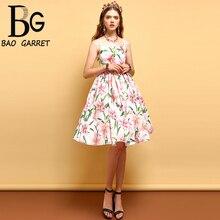 Baogarret Summer Fashion Vintage Dress Women Short Sleeve Sexy Spaghetti Strap Backless Pleat Floral Printed Elegant