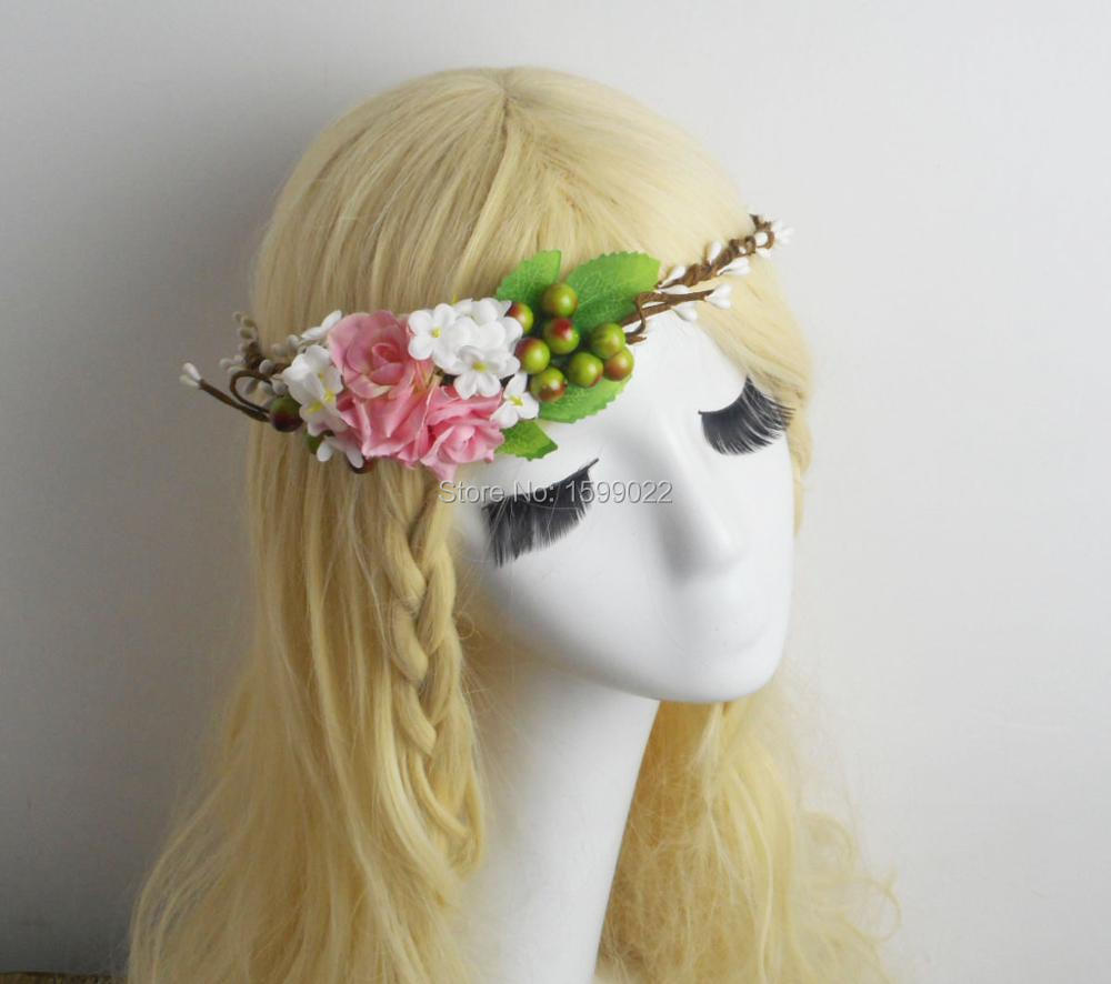 Handmade flower hair garland floral head crown pip berry headband handmade flower hair garland floral head crown pip berry headband rustic wedding supplies bridesmaid women hair accessories in hair jewelry from jewelry izmirmasajfo