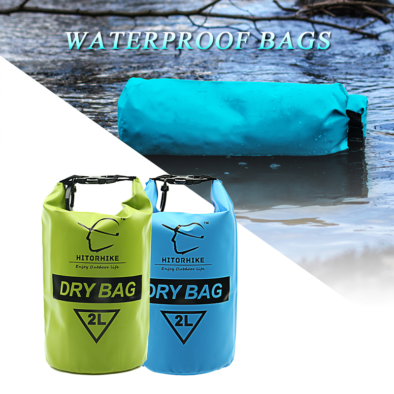 HITORHIKE PVC Waterproof Dry Bag Durable Lightweight Outdoor Diving Floating Camping Hiking Backpack Swimming Bags 2L