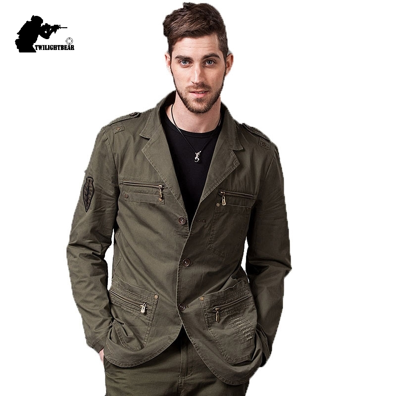 New Men's Casual Blazers Designer Fashion Military Style Male Cotton Casual Jacket Coat Men Brand Cloting Outwear 4XL BF1660
