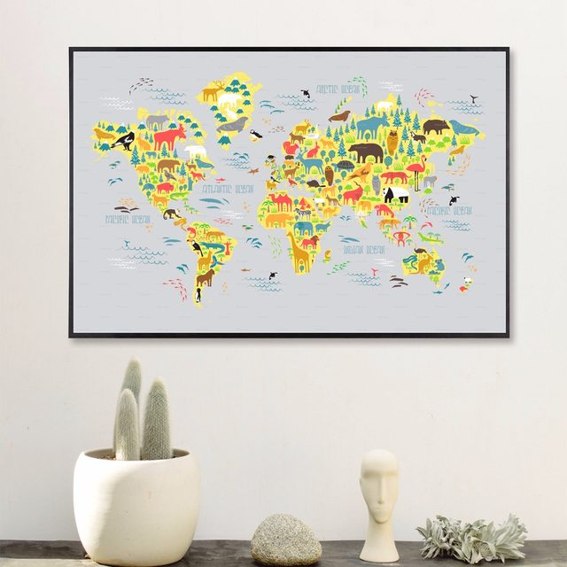 Online shop watercolour world map modern poster art wall pictures watercolour world map modern poster art wall pictures silk fabric printed painting room decoration home decor no frame gumiabroncs Gallery