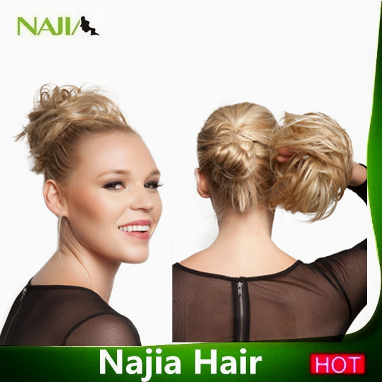 100% human hair Curly Chignons Women's Styling