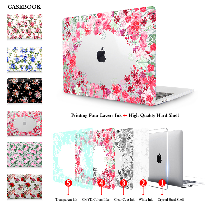 CASEBOOK Printed Roses Hard Case For New Macbook Pro Air 11 12 13 Pro13 15 Retina Case laptop Shell Touch Bar A1706 A1707 A17078