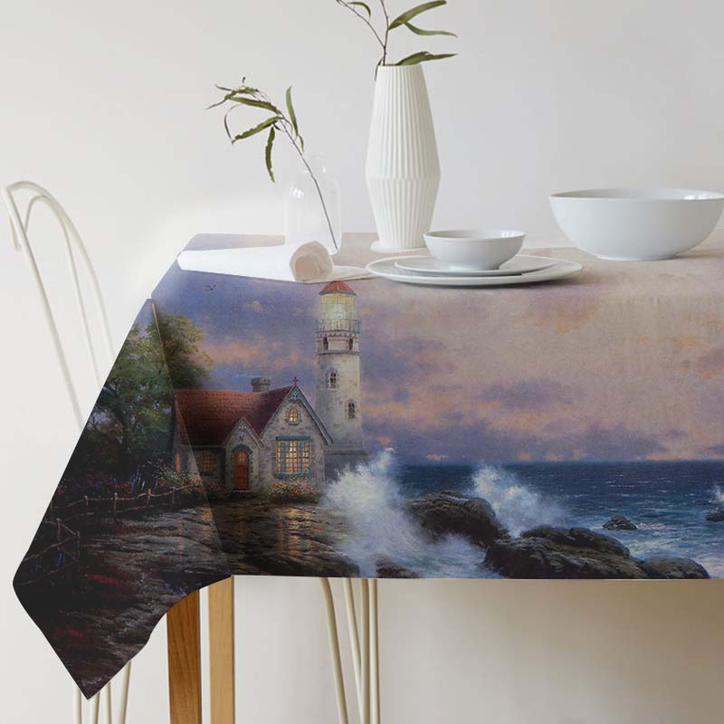Cotton Linen Decorative Tablecloth Thomas Kinkade Painting Art for table table cloth Dining Table Cover For Kitchen Home Decor