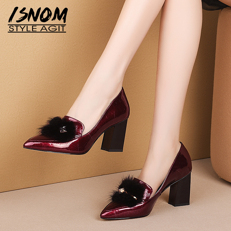ISNOM High Heels Thick Pumps Women Fur Patent Leather Pumps Crystal Shoes Female Fashion Pointed Toe Shoes Autumn 2019 New